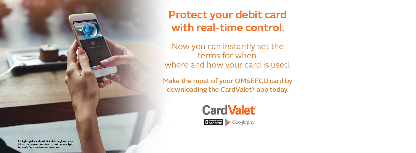 Protect you debit card with real-time control. Download the CardValet app today.